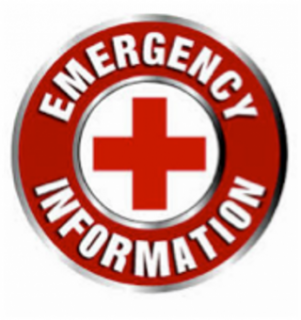 """red cross surrounded by a red circle with the words """"emergency information"""" written in white"""